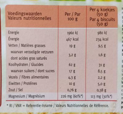 Biscuits Vitalité Chocolat - Amande - Voedingswaarden