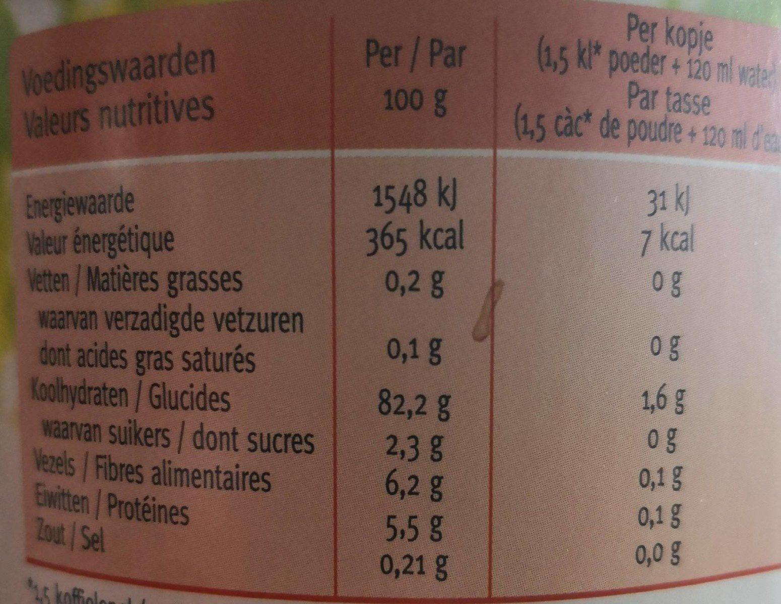 Boisson aux céréales - Voedingswaarden