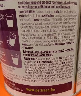Gerlinéa Mon Repas Shake Minceur Complet Saveur Vanille - Ingrediënten