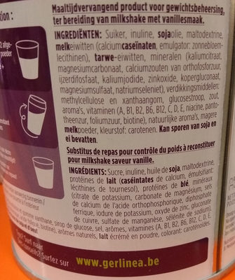Gerlinéa Mon Repas Shake Minceur Complet Saveur Vanille - Ingredients - fr