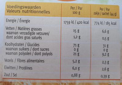 Biscuits Sans Sucre Citron / Yuzu - Informations nutritionnelles - fr