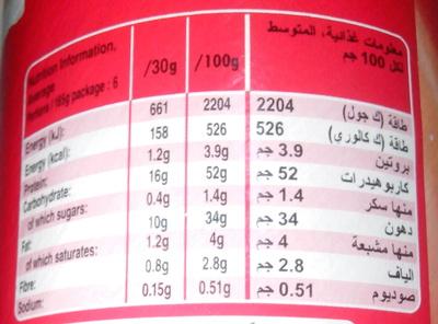 Pringles Original - Información nutricional