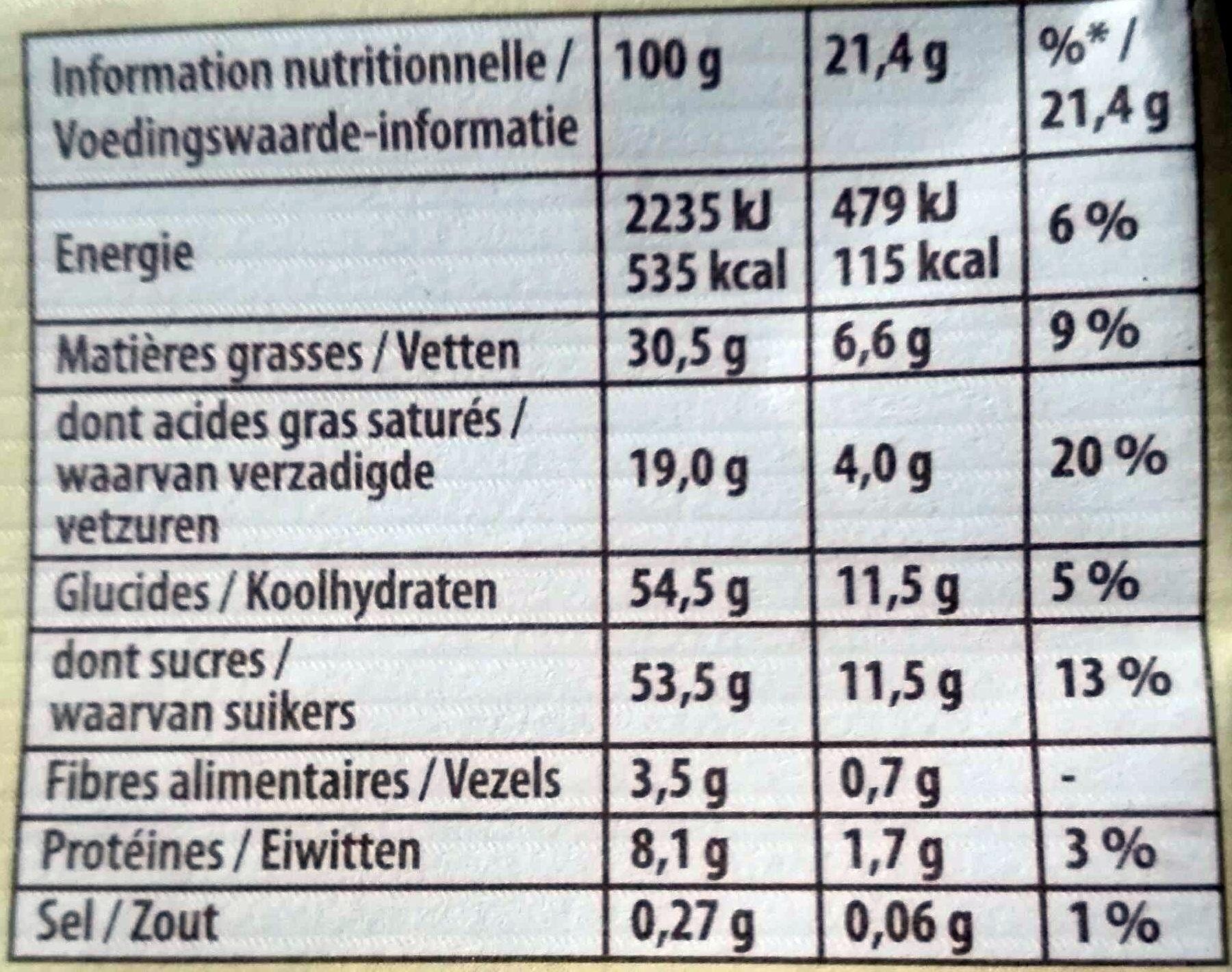Côte d'Or Lait (33% de cacao) - Nutrition facts