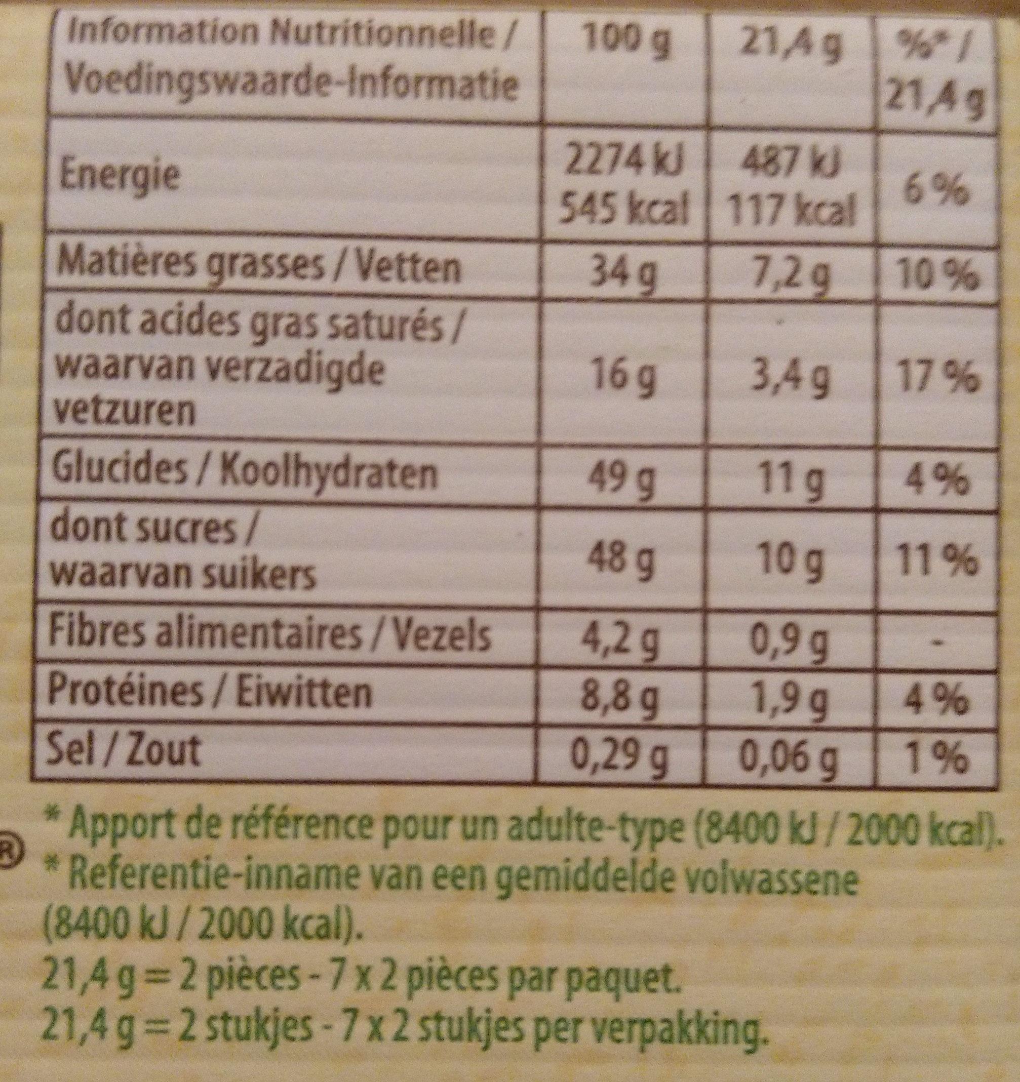 Lait noisettes - Nutrition facts