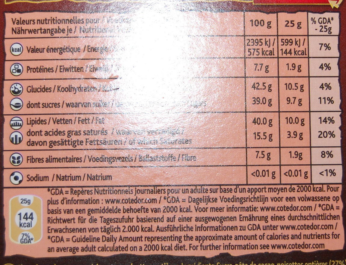 Noir pur noisettes - Voedingswaarden
