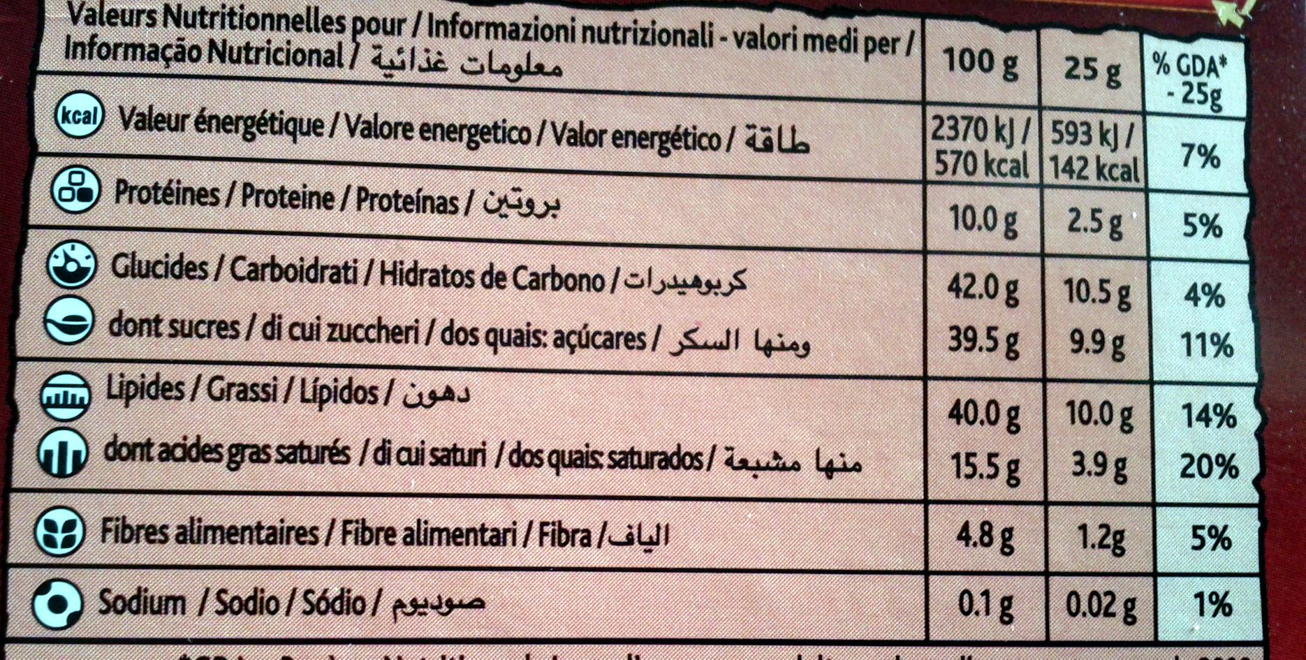 Côte d'Or lait Noisettes - Voedingswaarden - fr