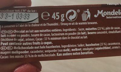 Côte d'Or Lait Noisettes - Ingrediënten