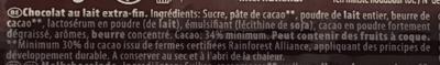 Chocolat au lait - Ingrédients - fr