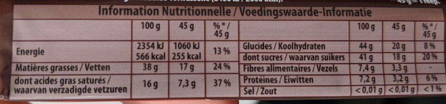 Côte d'Or noir noisettes - Nutrition facts - fr