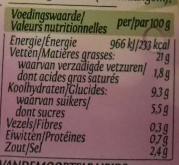 Vinaigrette Ciboulette - Nutrition facts