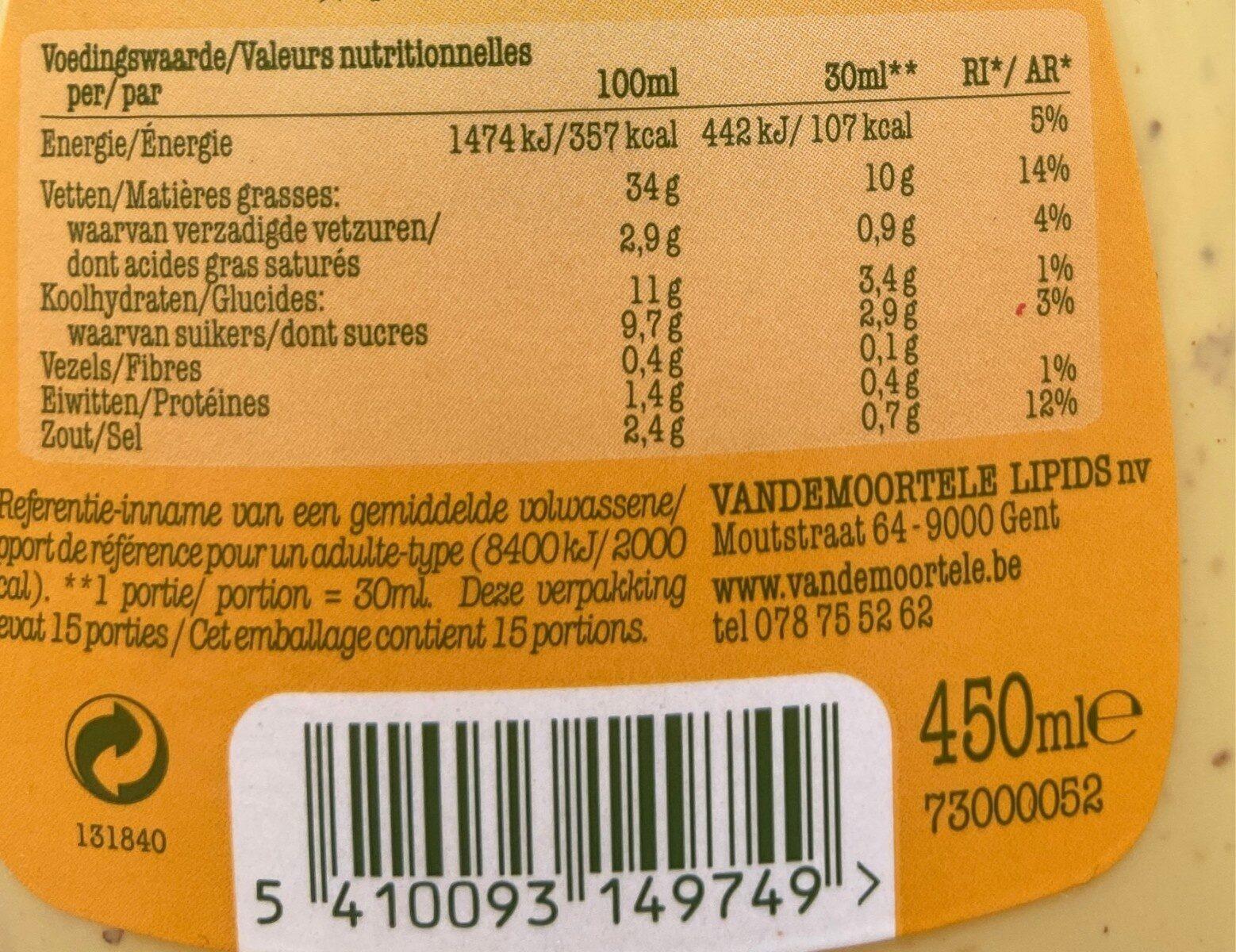 Vinaigrette miel moutarde - Voedingswaarden - fr