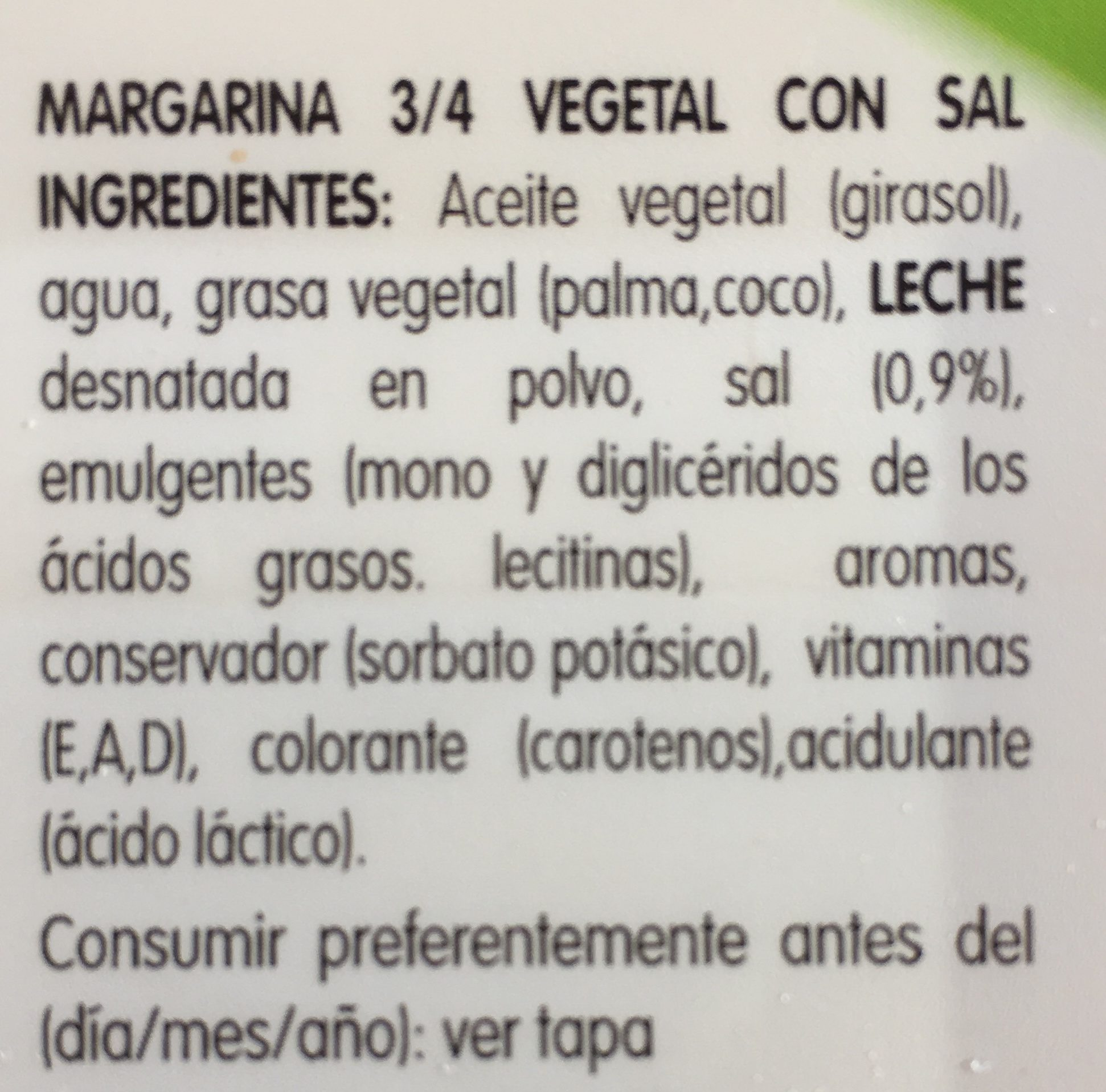 Margarina con sal - Ingredientes - es