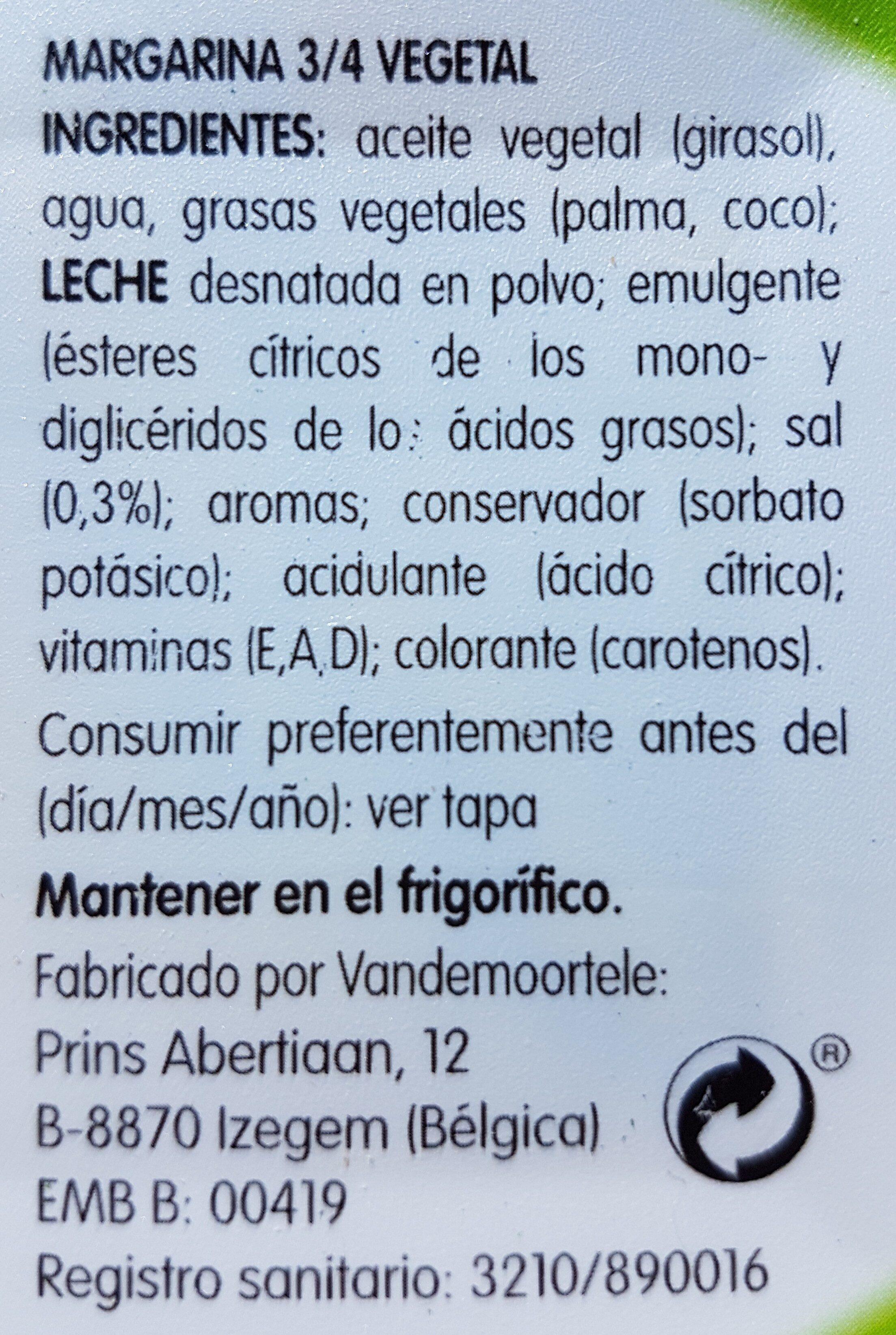 Margarina - Ingrediënten - es