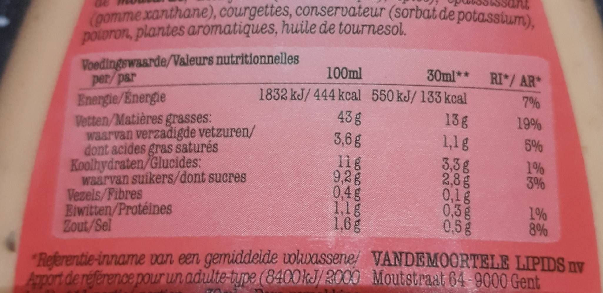 Vinaigrette Thousand Islands Vandemoortele - Nutrition facts - fr