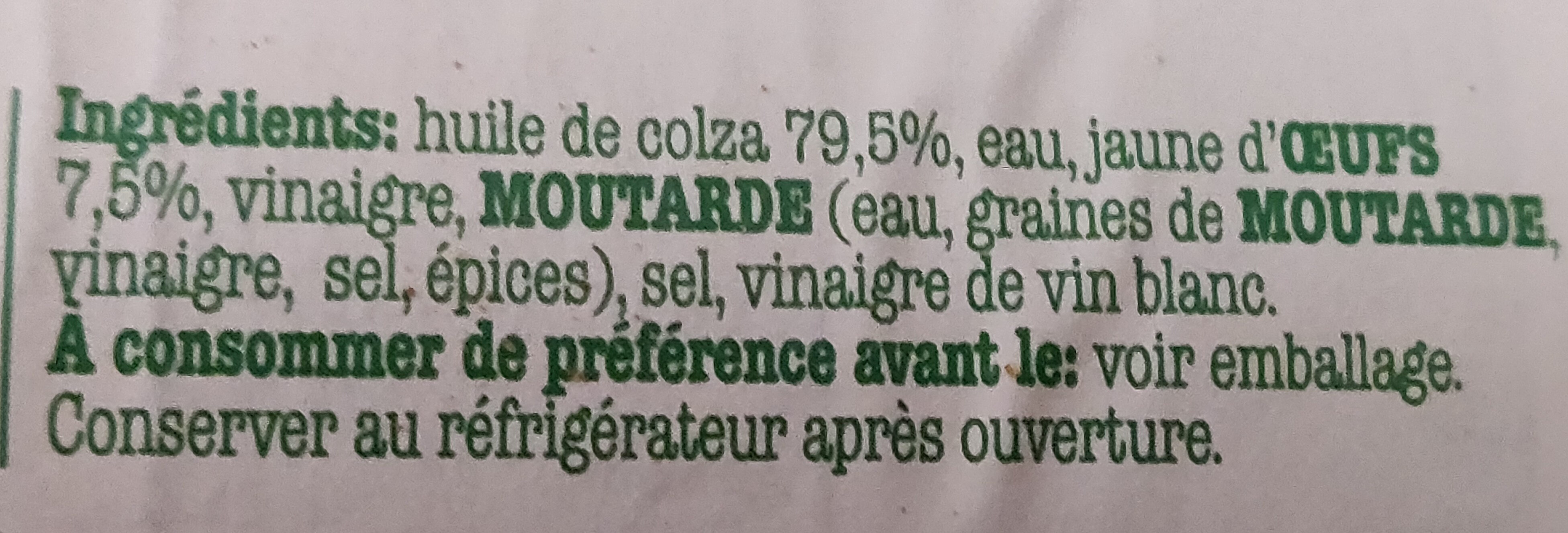 Vandemoortele mayonnaise - Ingrédients