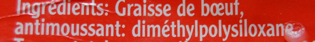 Graisse de boeuf - Ingrediënten