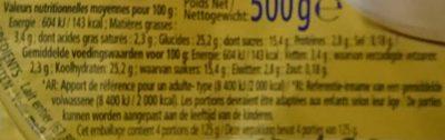 Riz au Lait Vanille - Nutrition facts