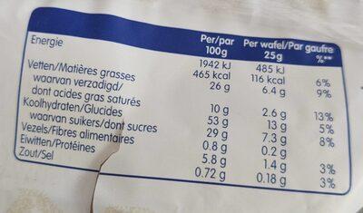 Gaufres Soft Lotus - Voedingswaarden - fr