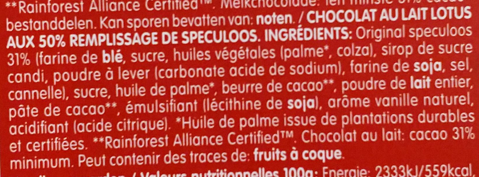 Lotus chocolat au lait - Ingrédients - fr