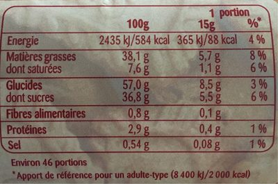 Pâte à tartiner speculoos - Nutrition facts