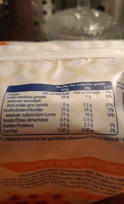 Gaufres Suzy - Nutrition facts - fr