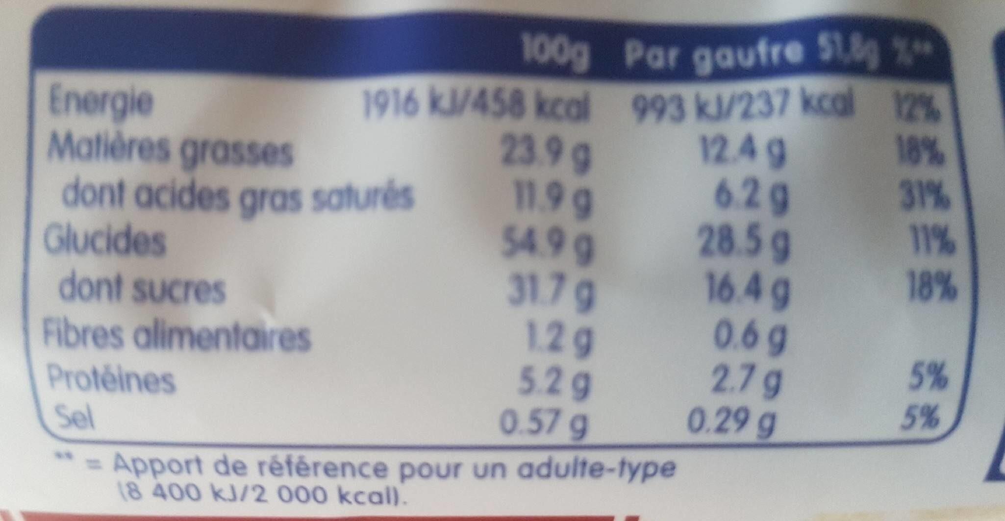 Gaufre de liège Chocolat au lait - Informations nutritionnelles - fr