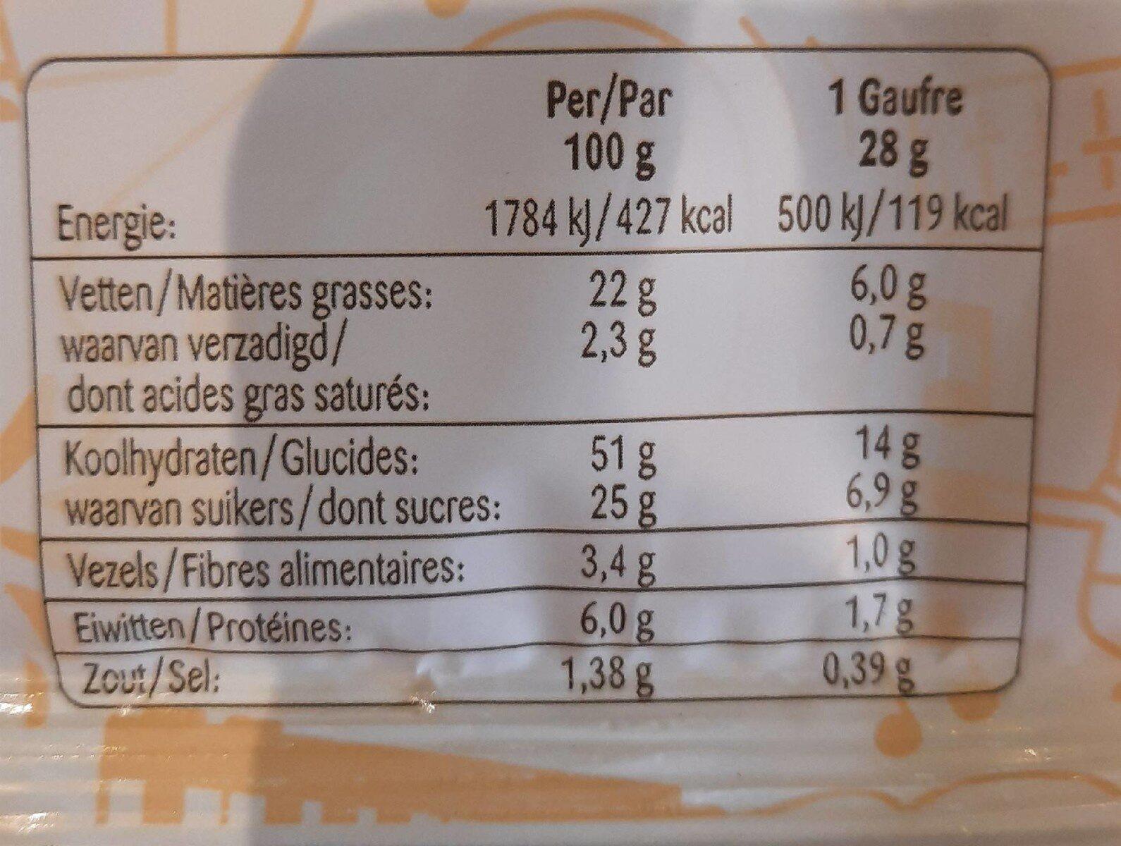 Gaufre vanille - Informations nutritionnelles - fr