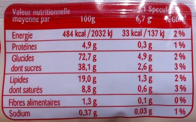 Speculoos Original - Informations nutritionnelles