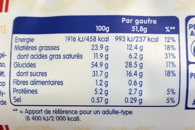 Gaufre de Liège (l'originale chocolat au lait) - Nutrition facts - fr
