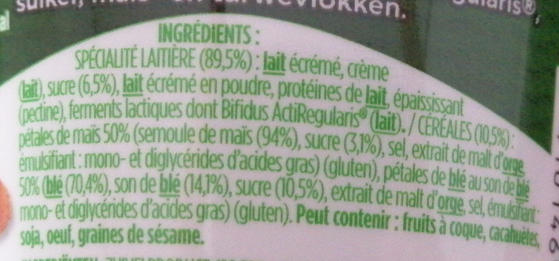 Activia Breakfast, Joghourt Natur Gezuckert - Ingrediënten - fr