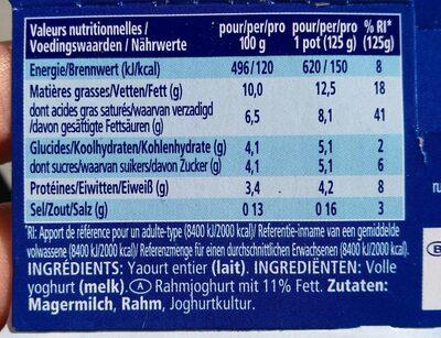 Oikos Greek Natur - Valori nutrizionali - fr