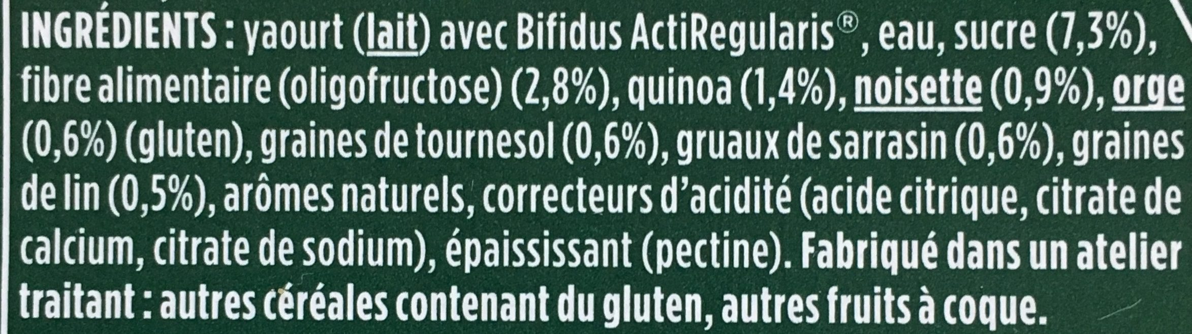 Activia Céréales Noisette Quinoa - Ingrédients - fr