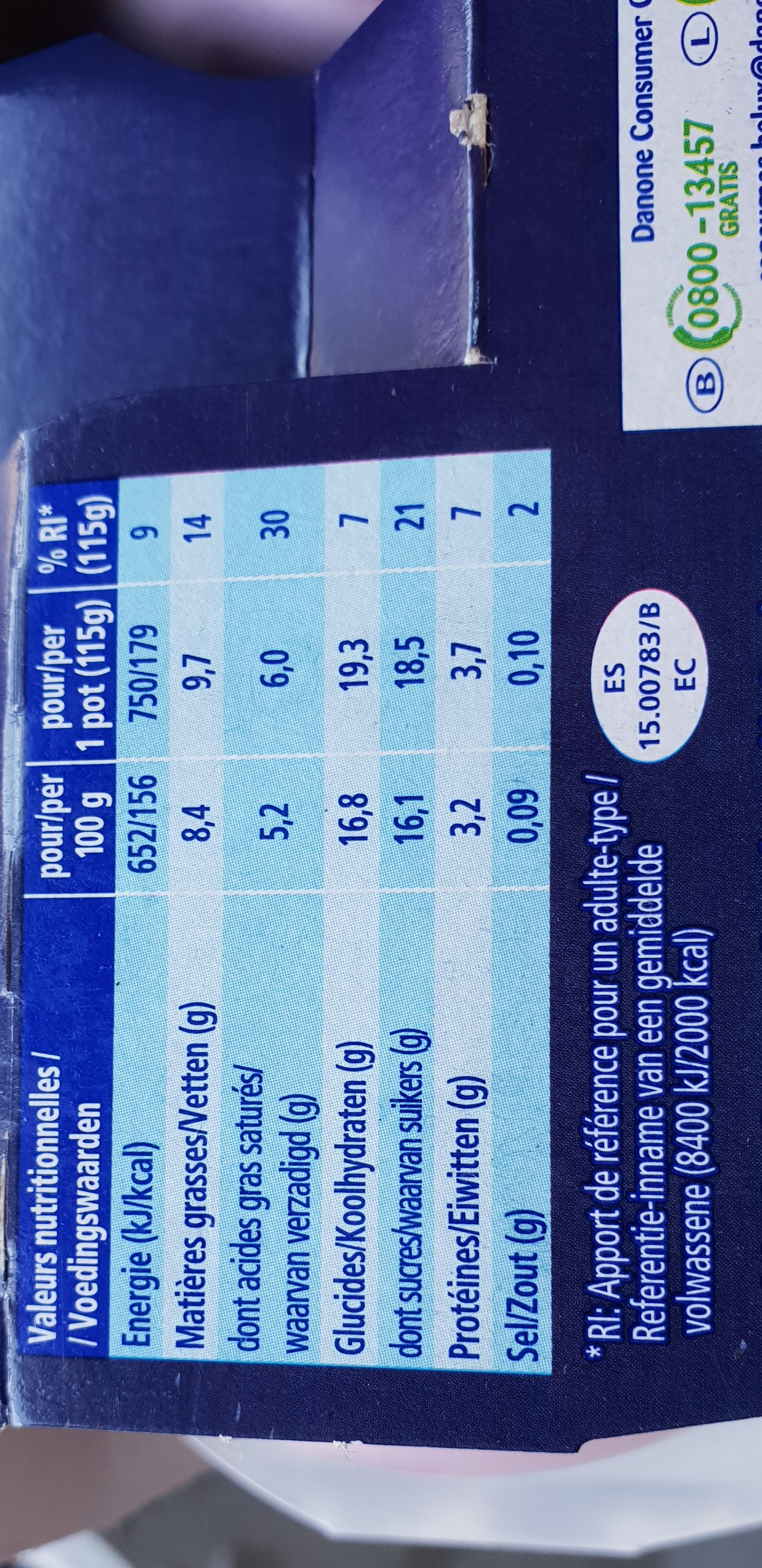 Yaourt à la grecque cheesecake myrtille - Voedingswaarden