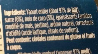 Danone Original Noix de Coco - Ingrédients