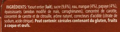Yaourt à la grecque mangue & papaye - Ingredients