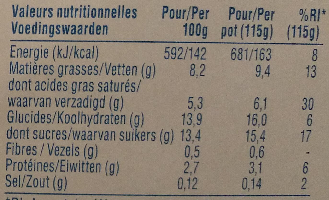 Oikos framboise - Voedingswaarden - nl