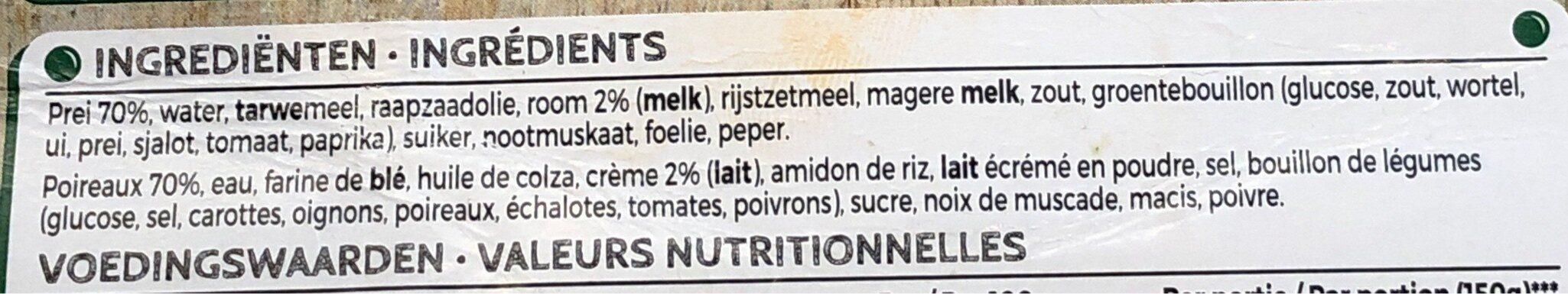 Iglo Poireaux a la creme - Ingrediënten - fr