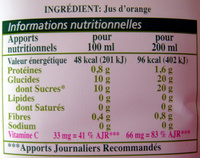 Pure Premium Orange sans pulpe 100% pur jus - Voedingswaarden
