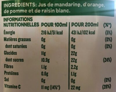 Jus Réveil fruité - Voedingswaarden - fr