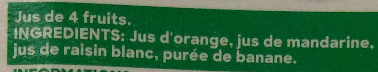 Douceur du matin 4 fruits pressés - Ingrédients - fr