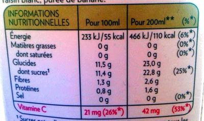 100% pur fruit pressé - douceur du matin - Información nutricional