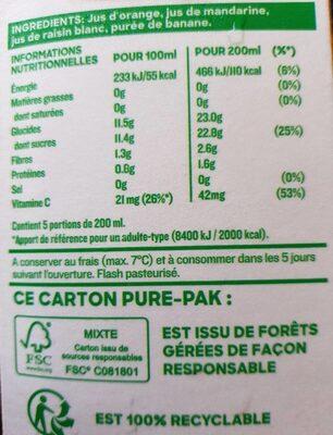 Douceur du matin 4 fruits pressés - Informations nutritionnelles - fr