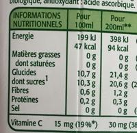 Pure Premium Pomme Bio - Informations nutritionnelles