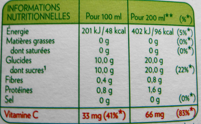Jus d'Orange sans pulpe - Informations nutritionnelles - fr