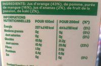 Tropicana Cocktails du Monde - Informations nutritionnelles