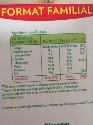 Pure Premium Orange sans pulpe (format familial) - Nutrition facts