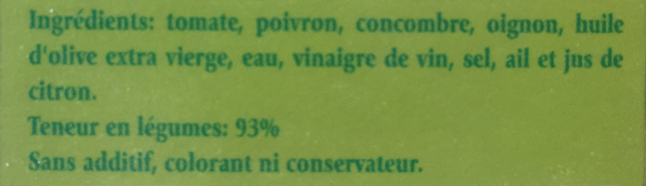 Gazpacho - Ingredients - en
