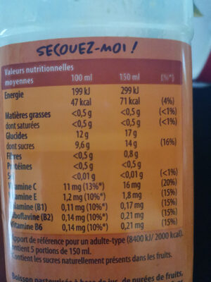 Smoothie Mango Machine ANTIOXYDANT Mango & Orange - Nutrition facts