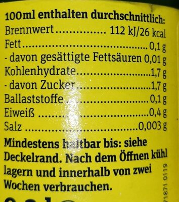 Zitrone Pur - Nutrition facts - de