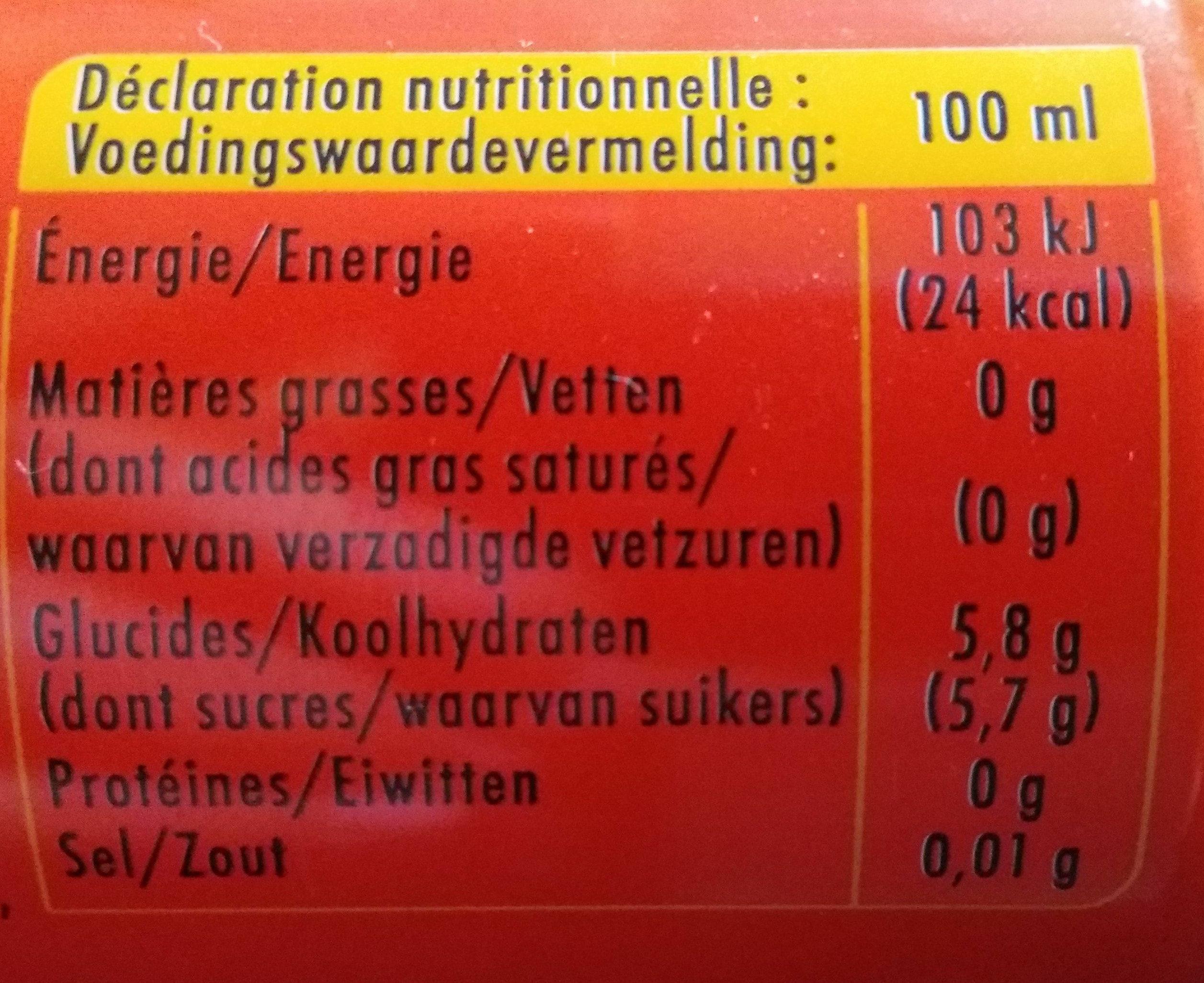 Schweppes Agrum - Informations nutritionnelles - fr